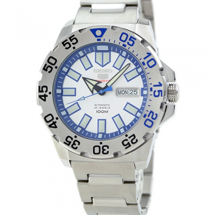 Seiko 5 Sports Ice Monster Baby Automatic Men's Silver Stainless Steel Strap Watch SRP481K1 SRP481K SRP481